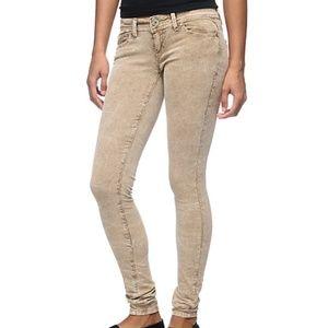 Almost Famous Khaki Acid Wash Corduroy Skinny Jean